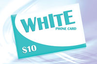 White Phone Card $10 - International Calling Cards